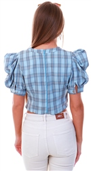 Qed Blue Check Pattern Puff Sleeve Top