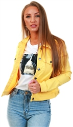 Veromoda Yellow / Banana Cream Short Denim Jacket