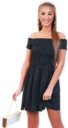 Brave Soul Black / White Spot Bardot Dress