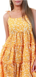 Qed Yellow Floral Strappy Frill Dress