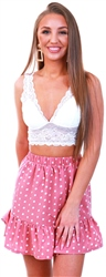 Pink Polka Dot Frill Hem Skirt by Parisian