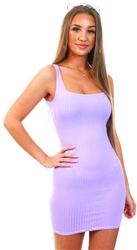 Parisian Lilac Bodycon Ribbed Dress