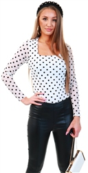 Parisian White Polka Dot Mesh Square Neck Bodysuit