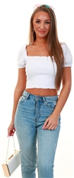Brave Soul White Puff Sleeve Rib Top