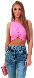 Noisy May Phiox Pink Twist Crop Sleeveless Top