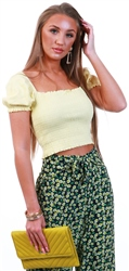 Brave Soul Pale Lemon Puff Sleeve Rib Top
