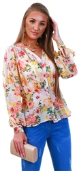 Qed Floral Pattern Frill Blouse
