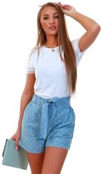 Veromoda Light Blue Denim / White Spot Loose Fit Shorts