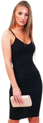 Parisian Black Rib Knit Plunge Neck Bodycon Cami Dress