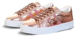 Redz Rose Gold Side Stripe Lace Up Trainer