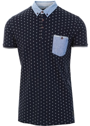 Rich Navy / White Pattern Polo Shirt by Brave Soul