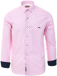 Dario Beltran Pink Slim Fit Pattern Shirt