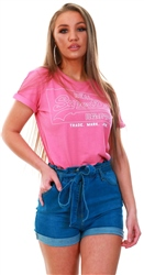 Superdry Cord Pink Vintage Logo Boxy T-Shirt
