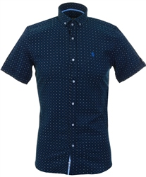 Alex & Turner Navy Pattern Short Sleeve Shirt