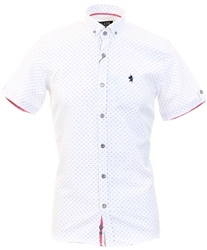 Alex & Turner White Pattern Short Sleeve Shirt