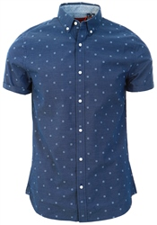 Superdry Blue Ditsy Classic Shoreditch Print Short Sleeved Shirt