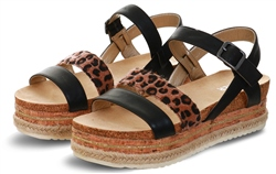 Black Pu Strap Wedge Sandal by Bull Boxer
