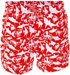 Threadbare Red / White Patterned Print Swim Shorts