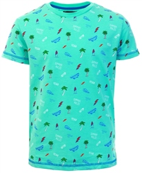 Threadbare Aqua Blue Pattern Print T-Shirt