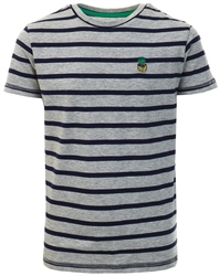Threadbare Grey Marl / Navy Stripe Pattern Print T-Shirt