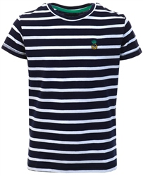 Threadbare Navy / White Stripe Pattern Print T-Shirt