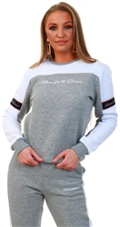 Kings Will Dream Grey Marl / White Fleece Crew Neck Sweat