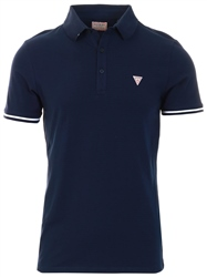 Guess Navy Stretch Cotton Polo