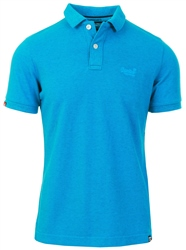 Superdry Beach Blue Marl Vintage Destroyed Polo Shirt