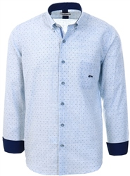 Dario Beltran Blue Pattern Long Sleeve Shirt