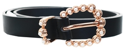 Black Arine Pu Pearl Buckle Belt by Pieces