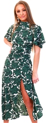 Ax Paris Green High Neck Floral Dress