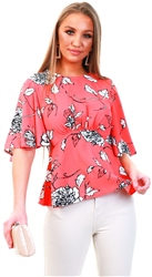 Ax Paris Coral Floral Flared Blouse