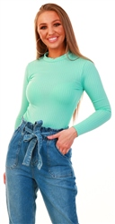Parisian Mint High Neck Long Sleeve Bodysuit