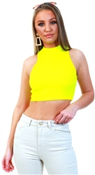 Parisian Neon Yellow Rib Knit High Neck Crop Top