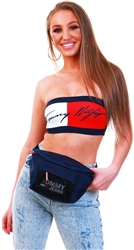 Tommy Jeans Navy Colour-Blocked Signature Bandeau Top