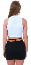 Parisian White Highneck Crop Top