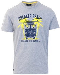 Grey Beach Print Rimini Tee by Threadbare