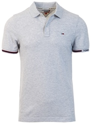 Tommy Jeans Pale Grey Woven Logo Slim Fit Polo