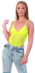 Saint Genies Lime Lace Strap Detailed Bodysuit