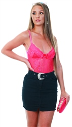 Saint Genies Hot Pink Lace Strap Detailed Bodysuit