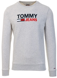 Pale Grey Heather Crew Logo Sweat by Tommy Jeans