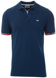Tommy Jeans Twilight Navy Woven Logo Slim Fit Polo