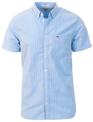 Tommy Jeans Light Blue / Multi Stripe Flag Patch Short Sleeve Shirt