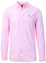 Paerly Pink Stretch Cotton Slim Fit Shirt by Tommy Jeans