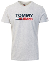 Tommy Jeans Pale Grey Htr Organic Cotton Logo T-Shirt