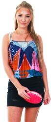 Jdy Faded Denim/Graphic Pattern Print Singlet