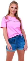 Tommy Jeans Pink Daisy Linear Logo Tee