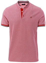 Jack & Jones Red / Red Dahlia Mandarin Collar Polo Shirt