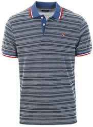 Jack & Jones Blue / Denim Blue Striped Polo Shirt