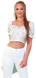 Qed Black/White Polka Dot Puff Sleeve